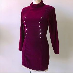 Vintage 80s Burgundy Velvet Rhinestones Mini Dress